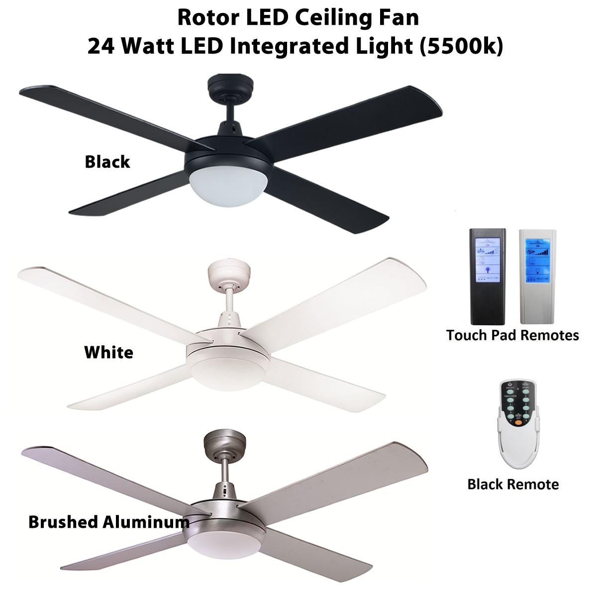 Rotor 52 Inch Led Ceiling Fan With 24w Led Light Ceiling