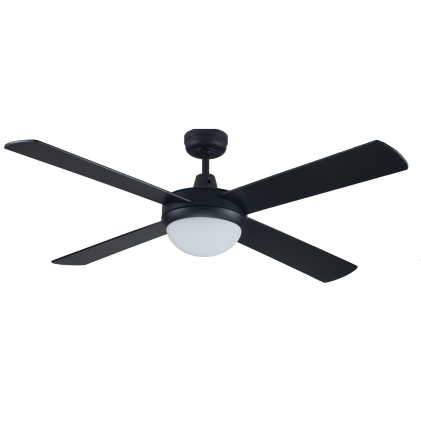 Genesis 52 Inch Ceiling Fan Black With Light 2xE27
