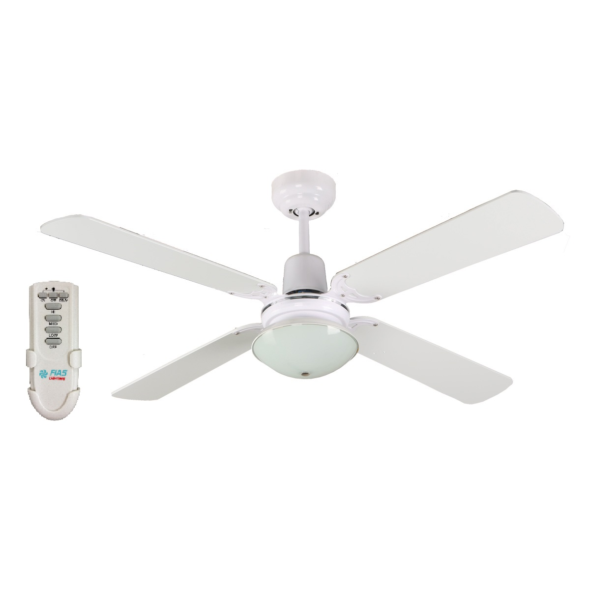 Budget Ceiling Fans | Ceiling Fan Bargains:Ramo 48'' Fan Light Remote White - RAMO48WHT,Lighting