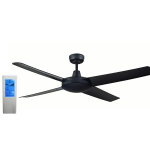 Genesis 52'' Black Ceiling Fan with ABS Blades + WH Touch Pad Remote - GEN52BLK2 - TWHRem