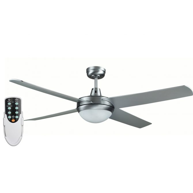 Genesis 52'' Brushed Aluminum Ceiling Fan with ABS Blades with Light + Remote - GEN52BL2 - Rem