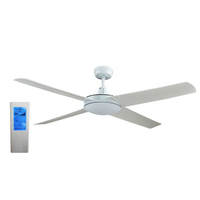 Genesis 52'' White Ceiling Fan with ABS Blades + WH Touch Pad Remote - GEN52W2 - TWHRem