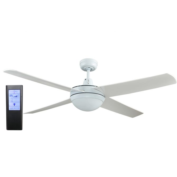 Genesis 52'' White Ceiling Fan with ABS Blades with Light + BL Touch Pad Remote - GEN52WL2 - TBLRem