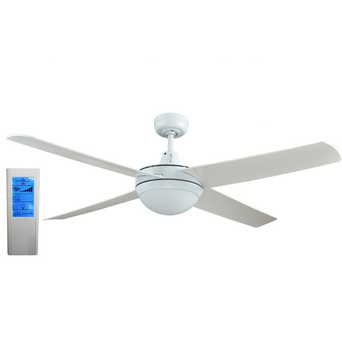 Rotor LED Light 52'' White Ceiling Fan with ABS Blades + WH Touch Pad Remote - ROTORW2 - TWLRem