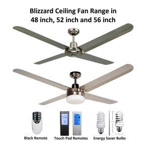 Blizzard 4 Blade 316 Marine Grade Stainless Steel Ceiling Fan