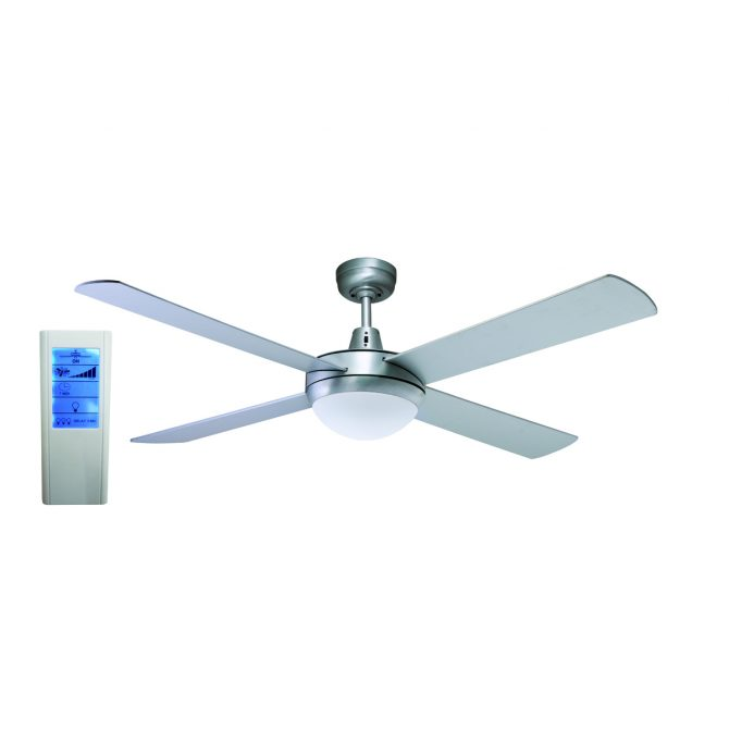 Genesis 52'' Brushed Aluminum Ceiling Fan 2xE27 Light + WH Touch Pad Remote - GEN52BL - TWHRem