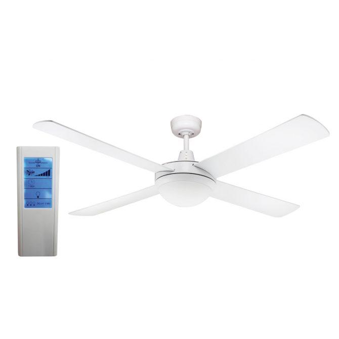 Genesis 52'' White Ceiling Fan 2xE27 Light + WH Touch Pad Remote - GEN52WL - TWHRem