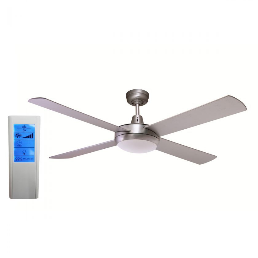 Rotor 52 Inch Led Ceiling Fan Brushed Aluminum With 24w Led Light White Touch Pad Remote