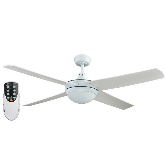 Genesis 52'' White Ceiling Fan with ABS Blades with Light + Remote - GEN52WL2 - Rem